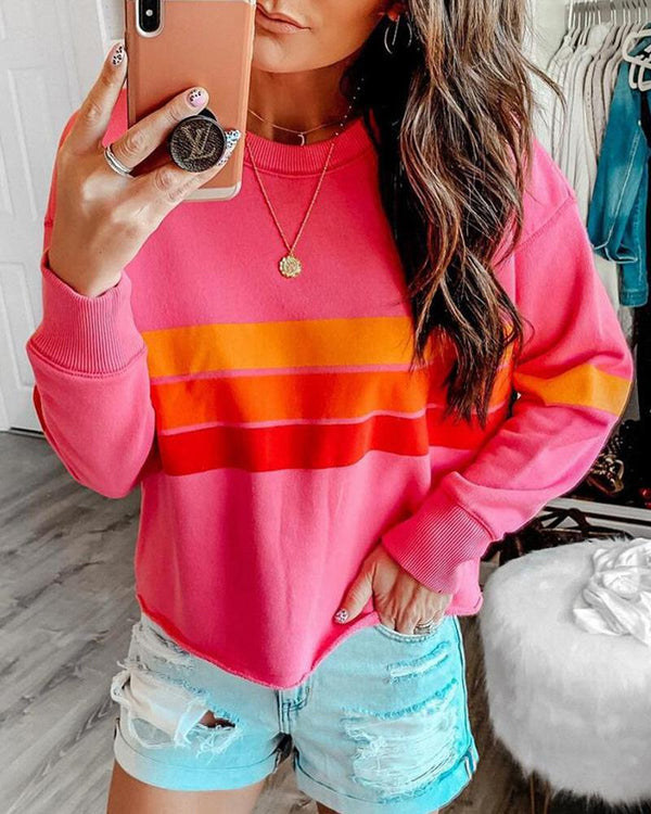 Striped Contrast Color Long Sleeve Sweatshirt