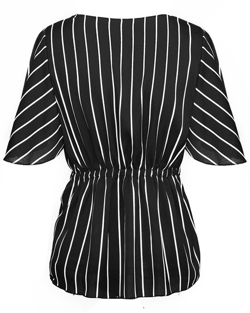 Striped Twisted Front Casual Blouse