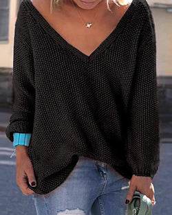 Solid V Neck Long Sleeve Loose Pointelle Sweater