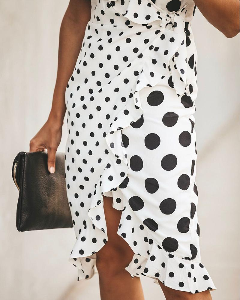 Polka Dot Sling V-neck Irregular Dress