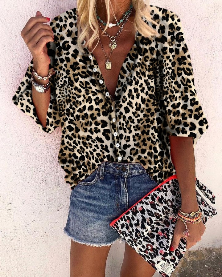 Leopard Print Long Sleeve Casual Blouse