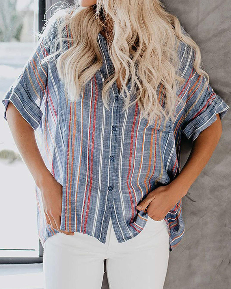 Short Sleeve Striped V-Neck Top