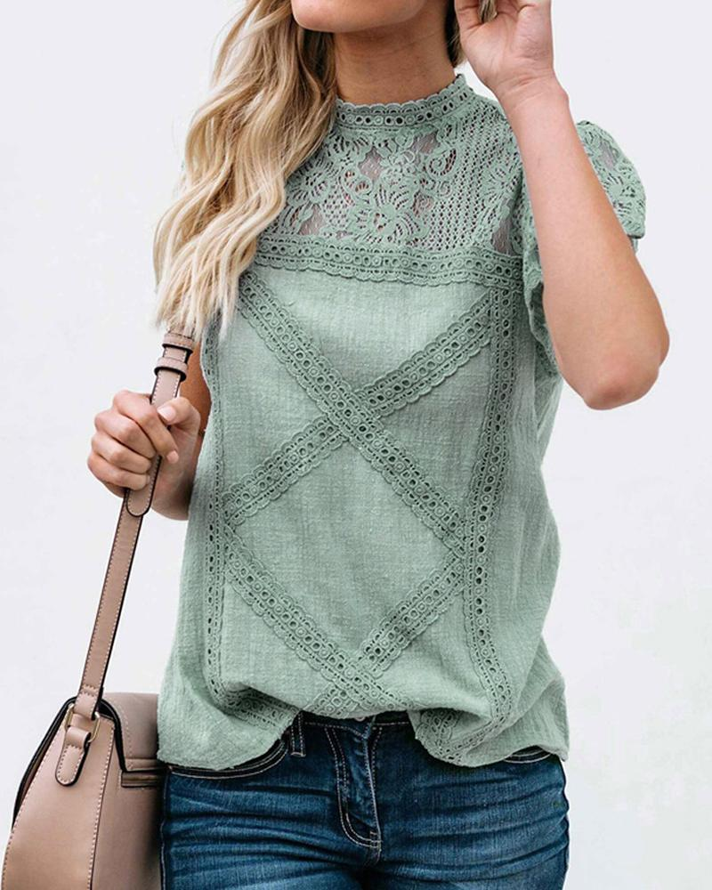 Lace Stitching Short Sleeve Blouse