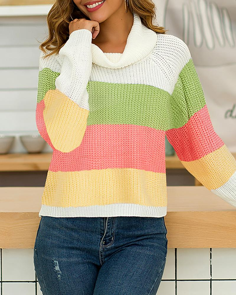 Colorblock Insert Long Sleeve Sweater