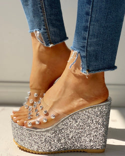 Transparent Rivet Detail Platform Wedge Sandals