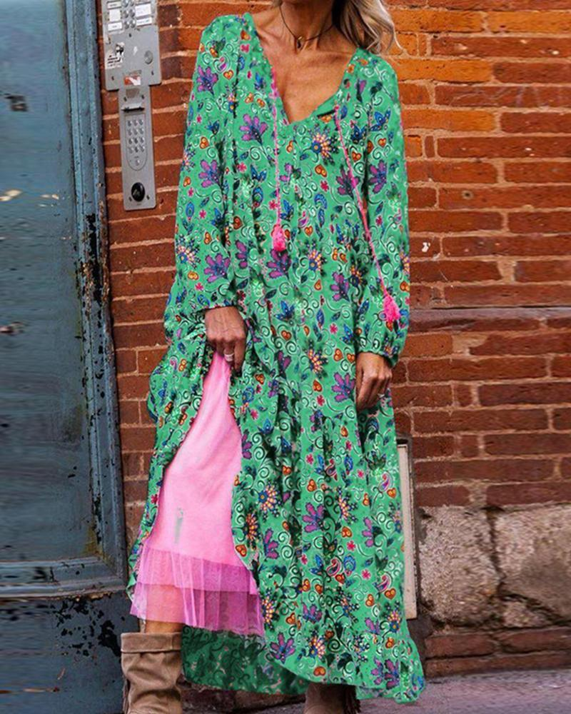 Autumn and winter long-sleeved printed V-neck dress with long skirt