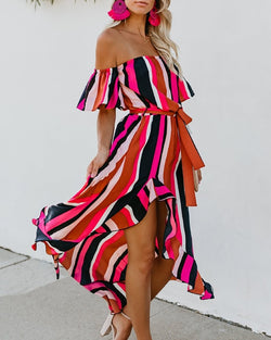 Striped Off Shoulder Irregular Lace up Dress
