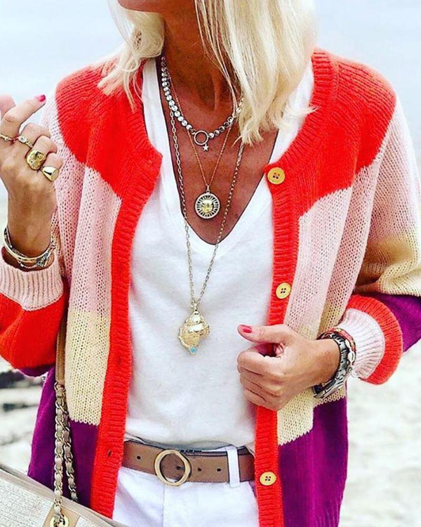 Solid color stitching casual knit cardigan coat sweater