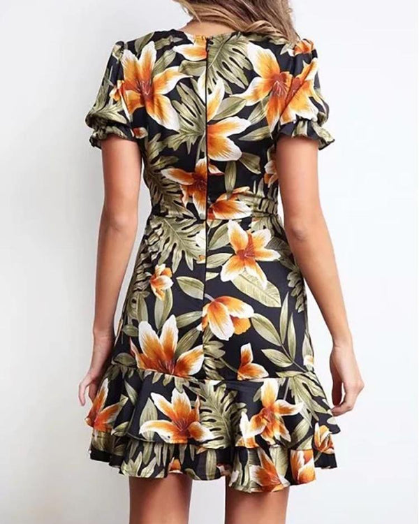Floral Print V-Neck Layered Ruffles Dress