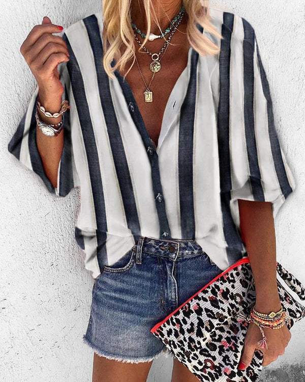 Striped V-Neck Buttoned Casual Blouse