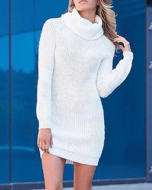 White High Neck Knit Sweater Dress