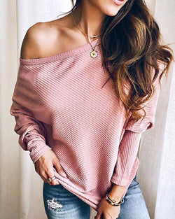 Solid Long Sleeve Batwing Sleeve Top
