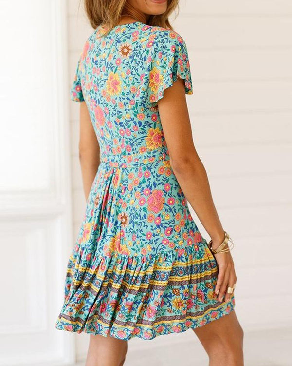 Floral Print Tied Detail Ruched Dress