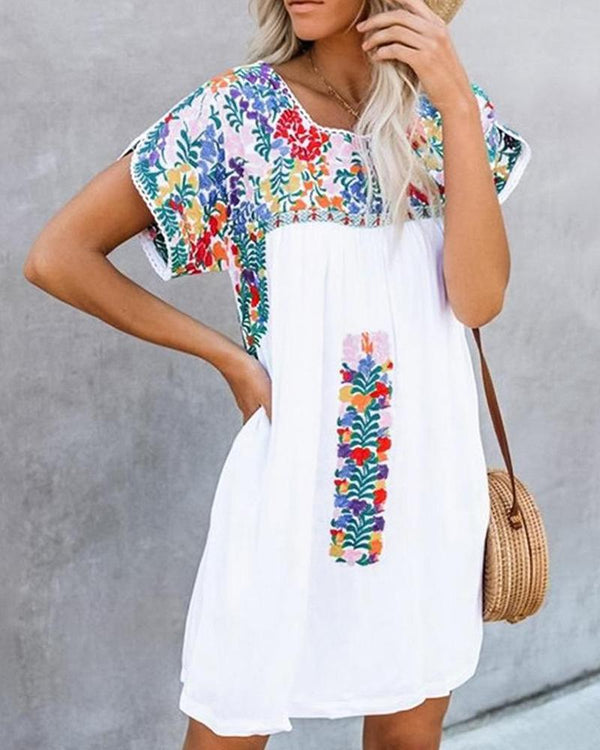 Short Sleeve V-neck Print Loose Dress