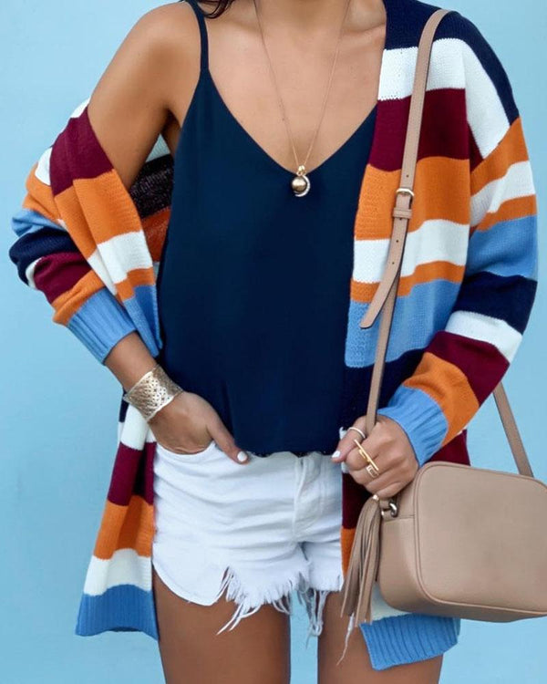 Knitting Striped Long Sleeve Open Front Sweater