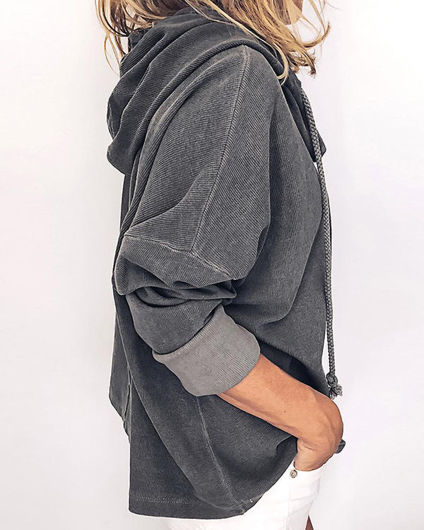 Solid Hooded Patchwork Casual Hoodie