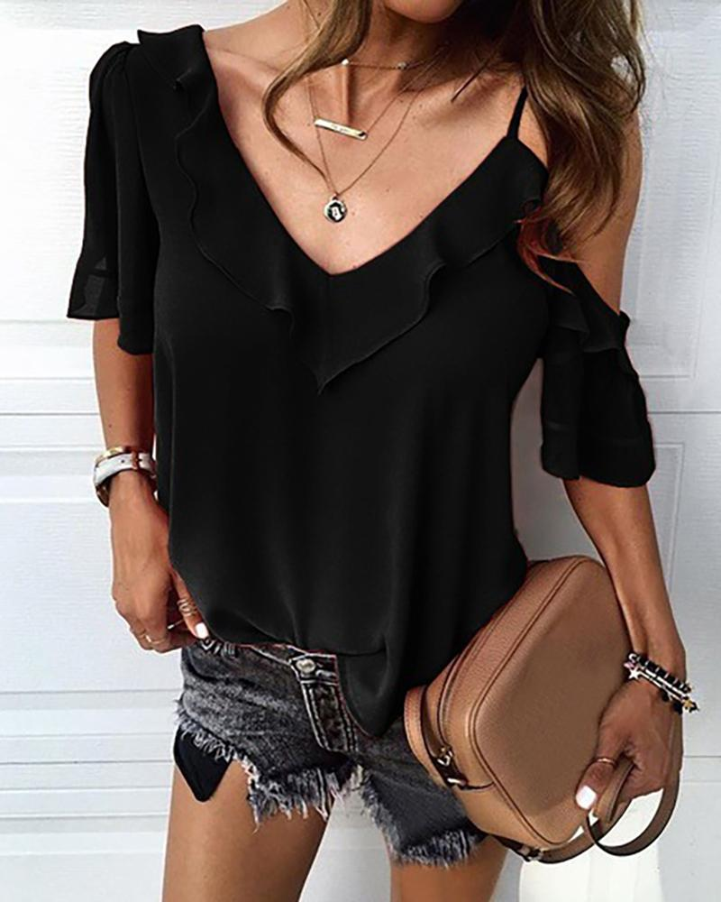 V Neck Solid Ruffle Casual Blouse