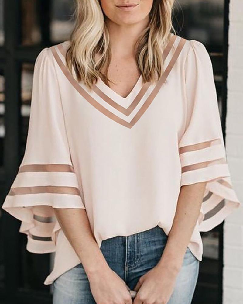 Solid Hollow Out Bell Sleeve V-Neck Blouse