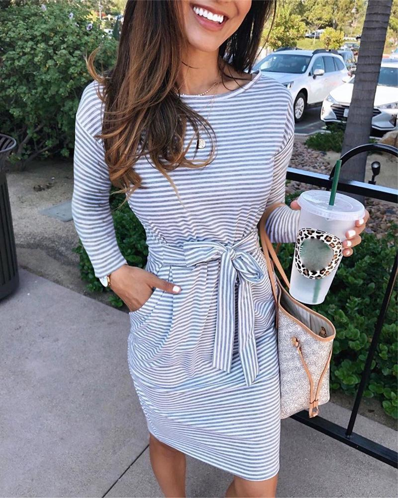 Striped Long Sleeve Knotted Casual Dress