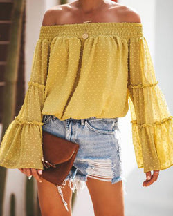 Off Shoulder Bell Sleeve Tops