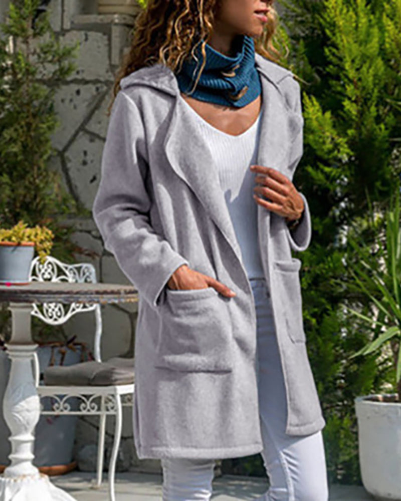 Notched Collar Pocket Design Long Sleeve Coat