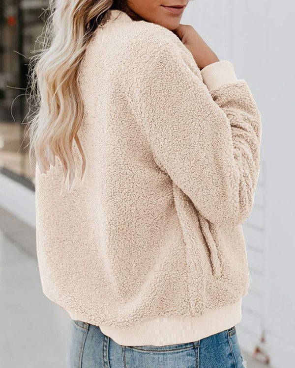 Solid Fluffy Long Sleeve Casual Coat
