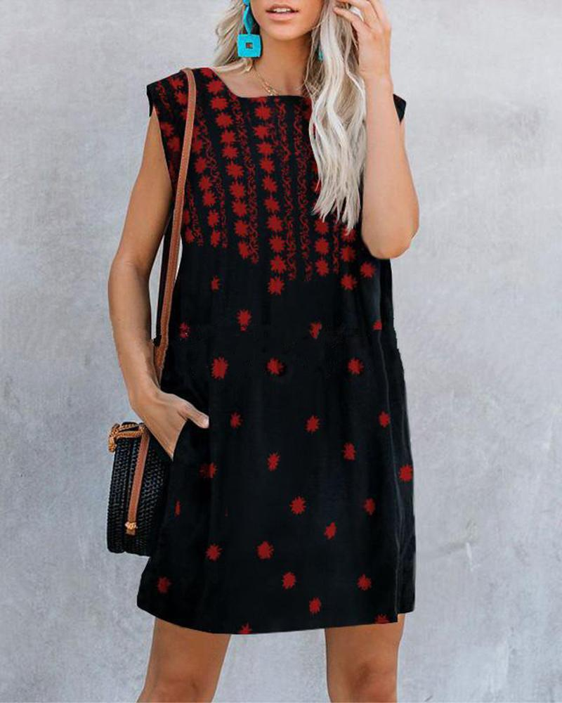 women's sweet sleeveless print mini dress