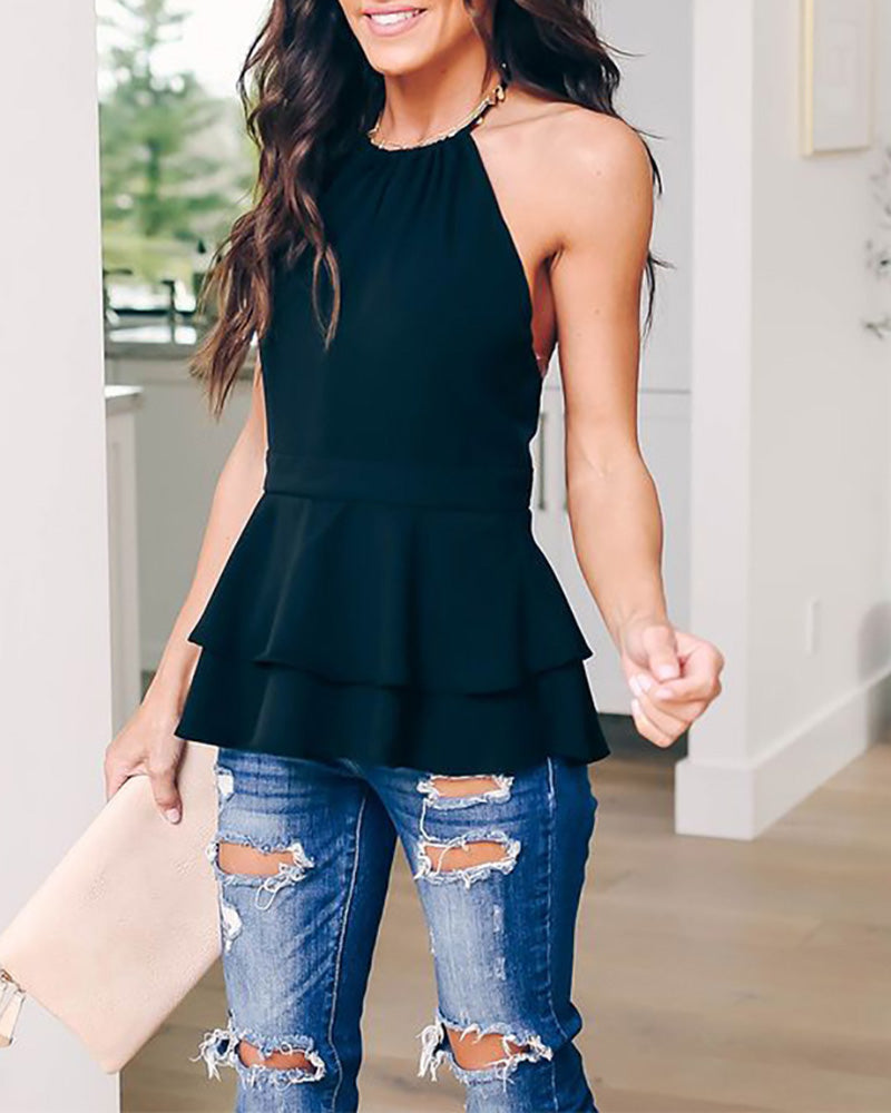 Ruffled Halter Sleeveless Top