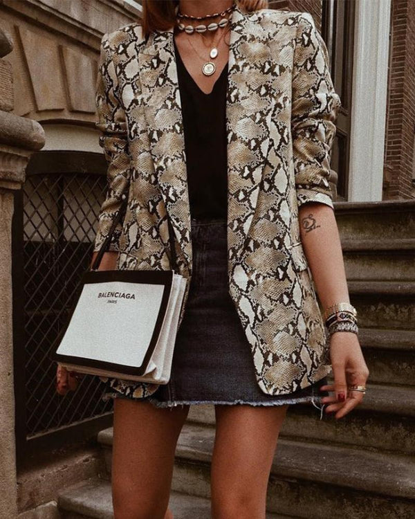 Snakeskin Long Sleeve Open Front Blazer