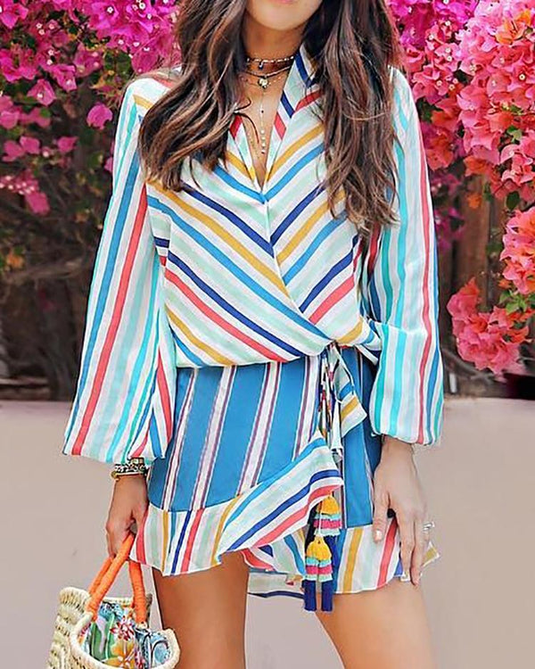 Colorful Striped Long Sleeve Tie Waist Casual Dress