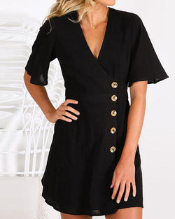 New Button Style V-neck Short-sleeved Dress