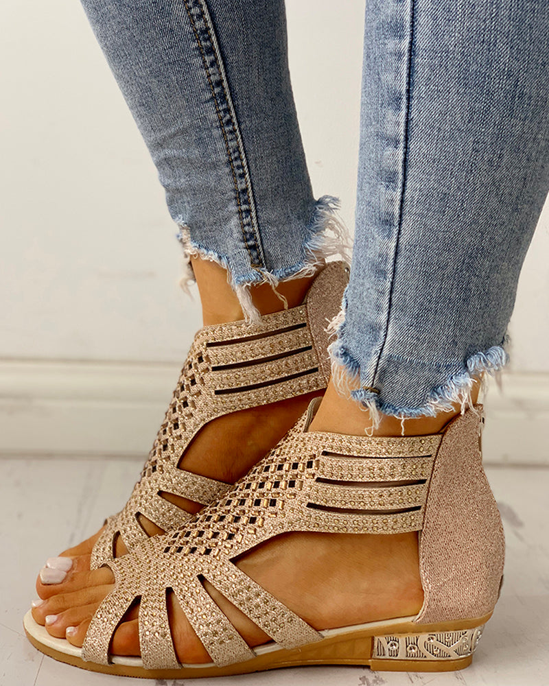 Studded Detail Hollow Out Flat Sandals