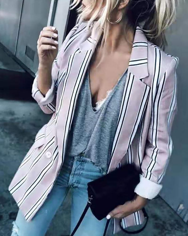 Single Buttoned Long Sleeve Blazer Coat
