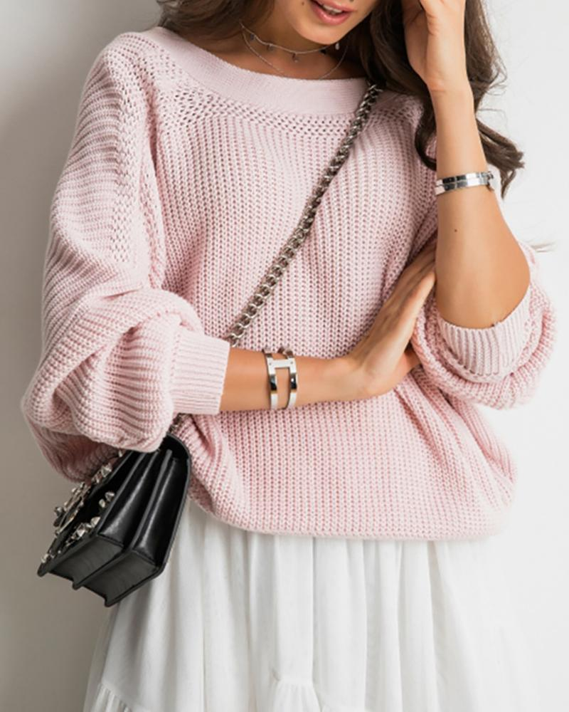 Solid Buttoned Open Back Casual Sweater