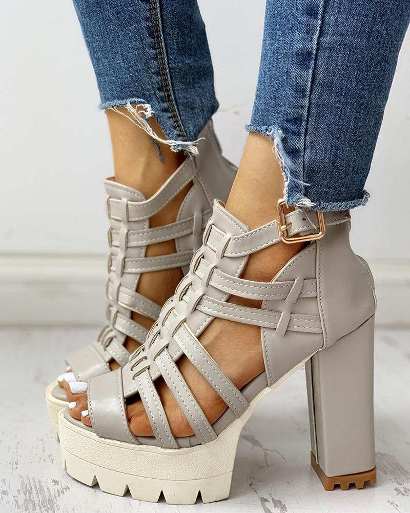 Hollow Out Platform Chunky Heeled Sandals