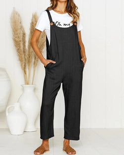Loose Pocket Casual Strap Jumpsuit
