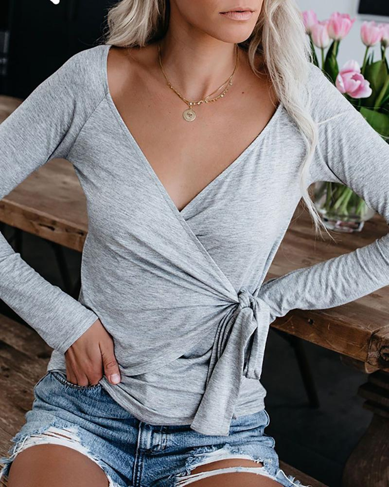 Long Sleeve V-Neck Wrap Knotted Blouse