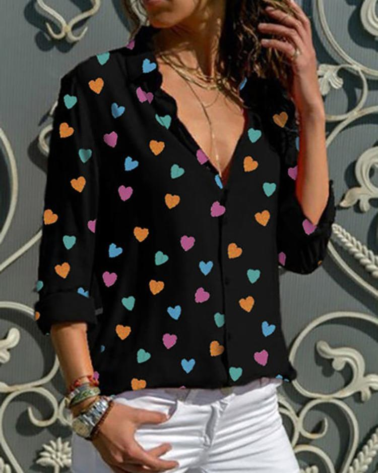 Heart Shape Print Long Sleeve Shirt