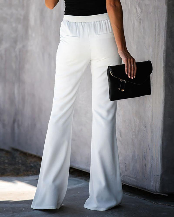 Belted Bell-Bottom Pants