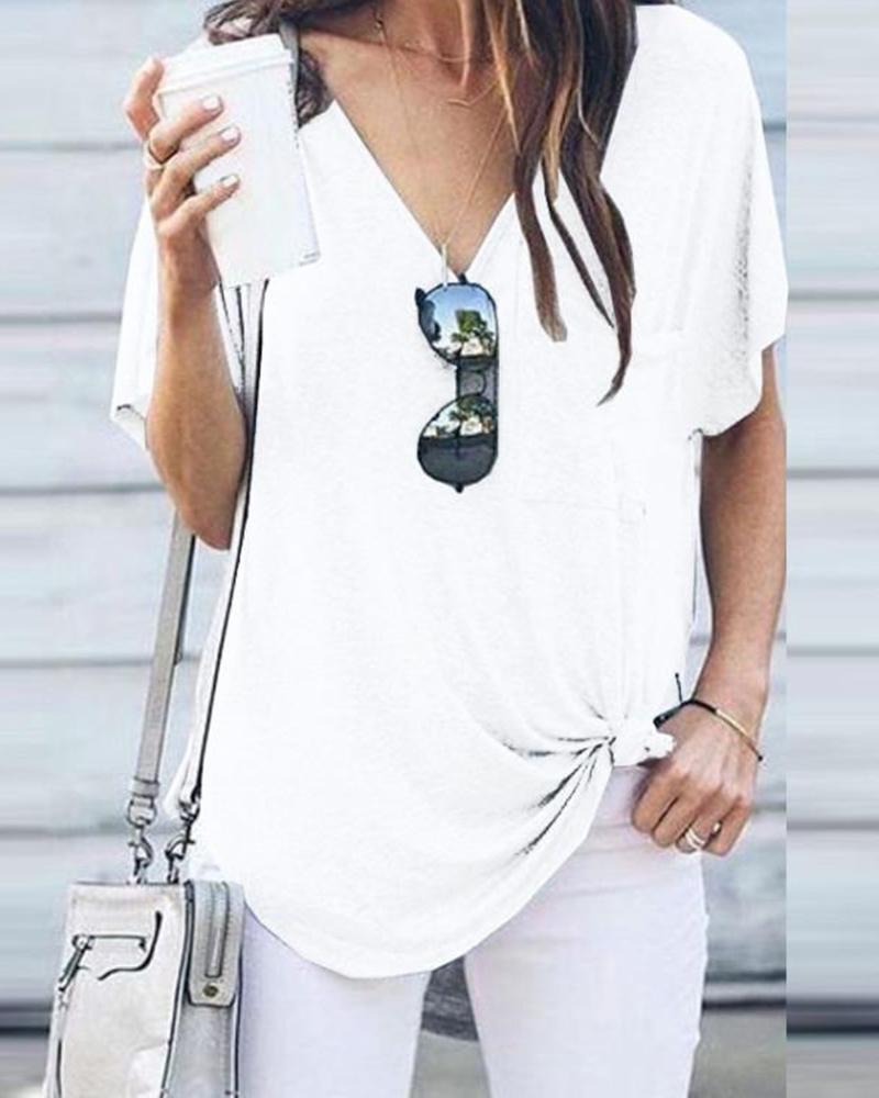 Casual loose t-shirt female summer V-neck short-sleeved pocket