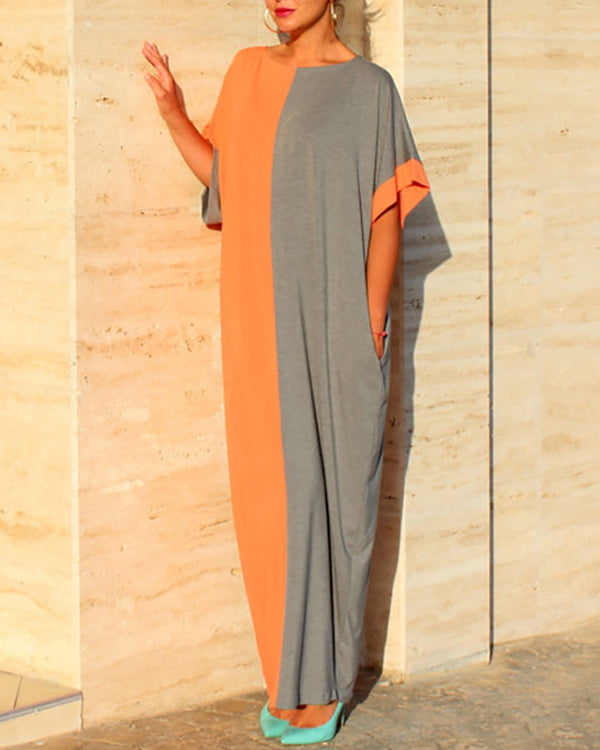 Colorblock Short Sleeve Casual Maxi Dress