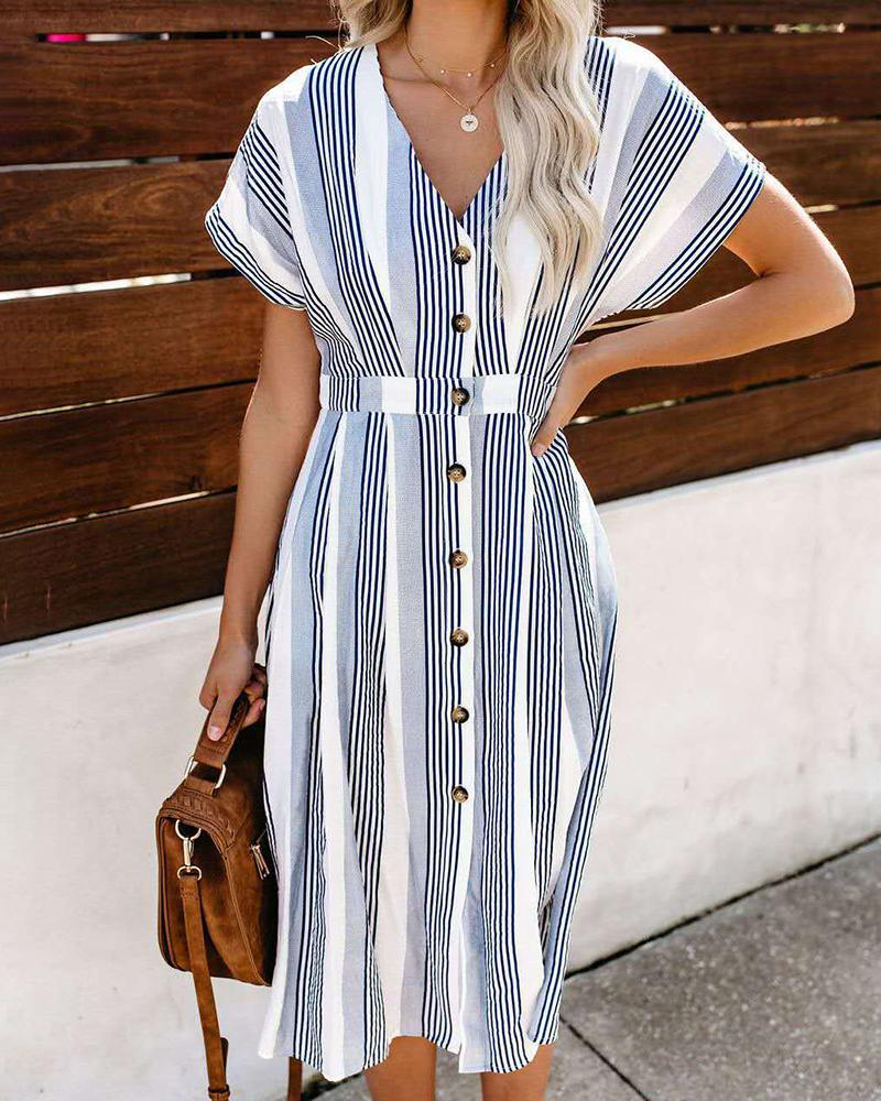 Striped Printed V-neck Single-breasted Dress