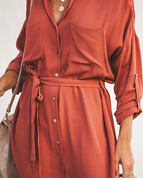 Solid Long Sleeve T-shirt Dress