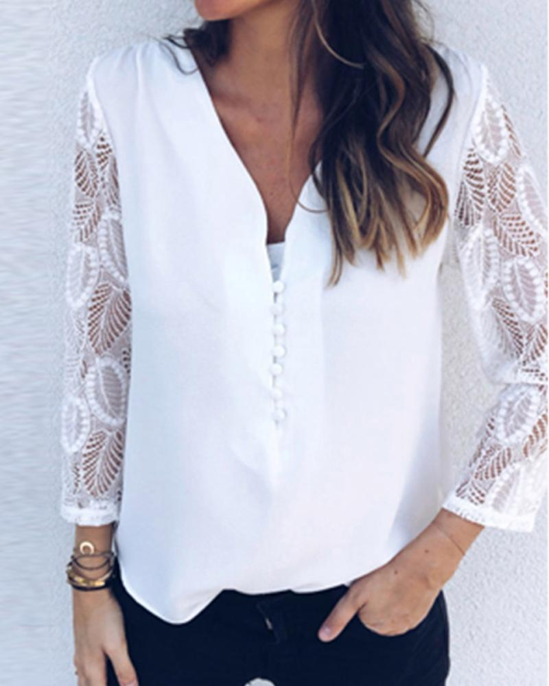 Foral Lace Patchwork Long Sleeve Shirt Tops
