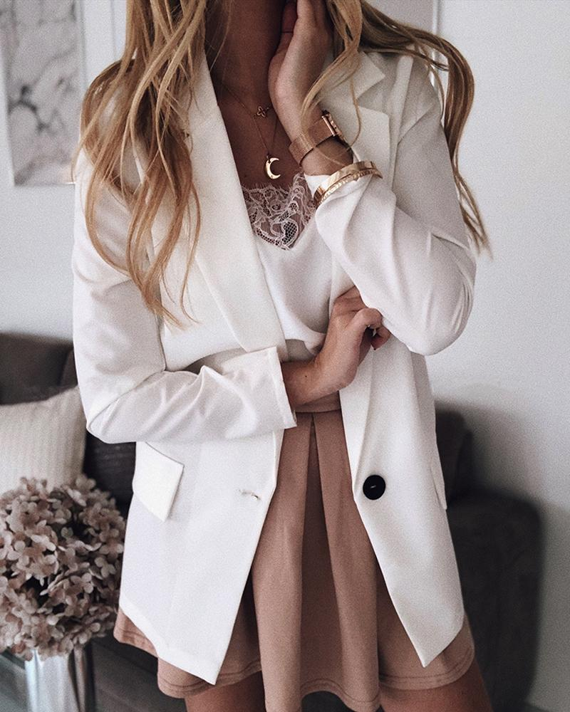 Solid Shawl Collar Single Button Blazer Coat