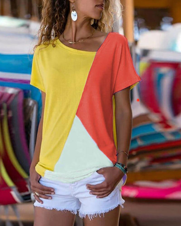 Colorblock Insert Short Sleeve Casual T-Shirt
