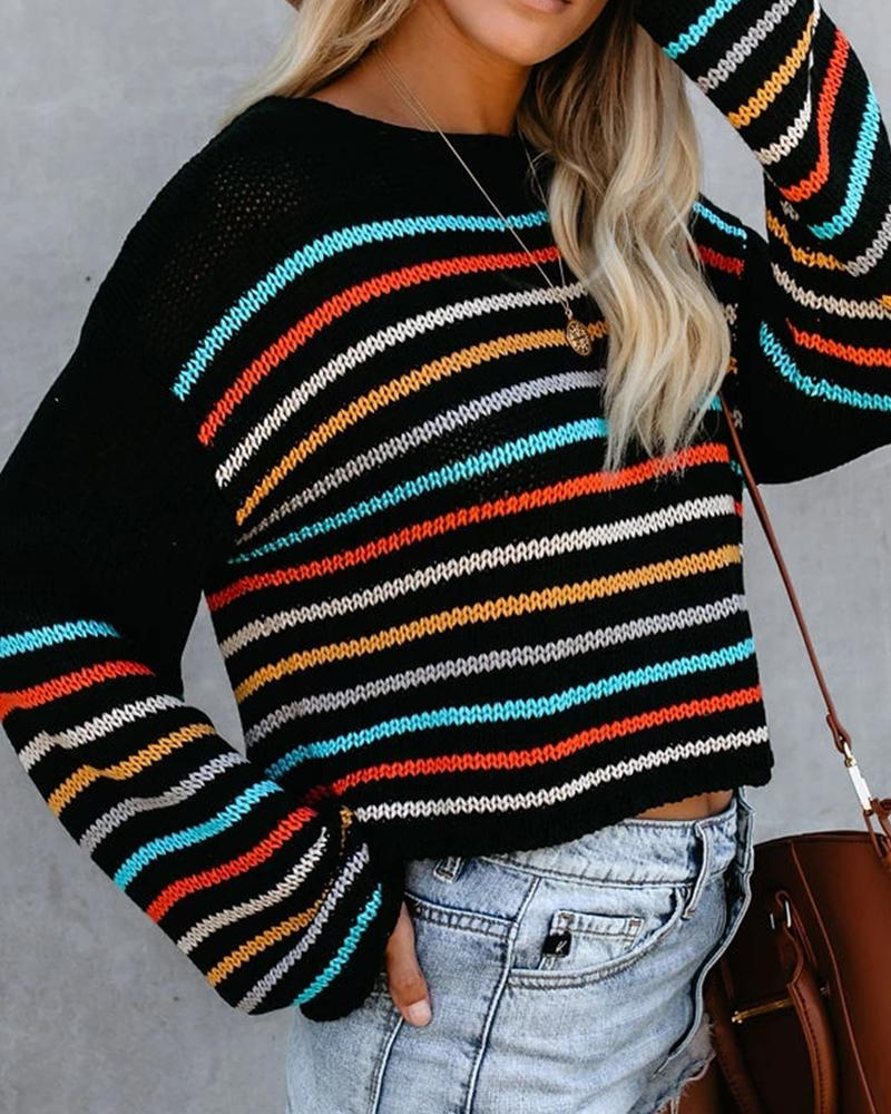 Color Striped Knit Sweater
