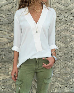 V-neck Chiffon Long-sleeved Shirt