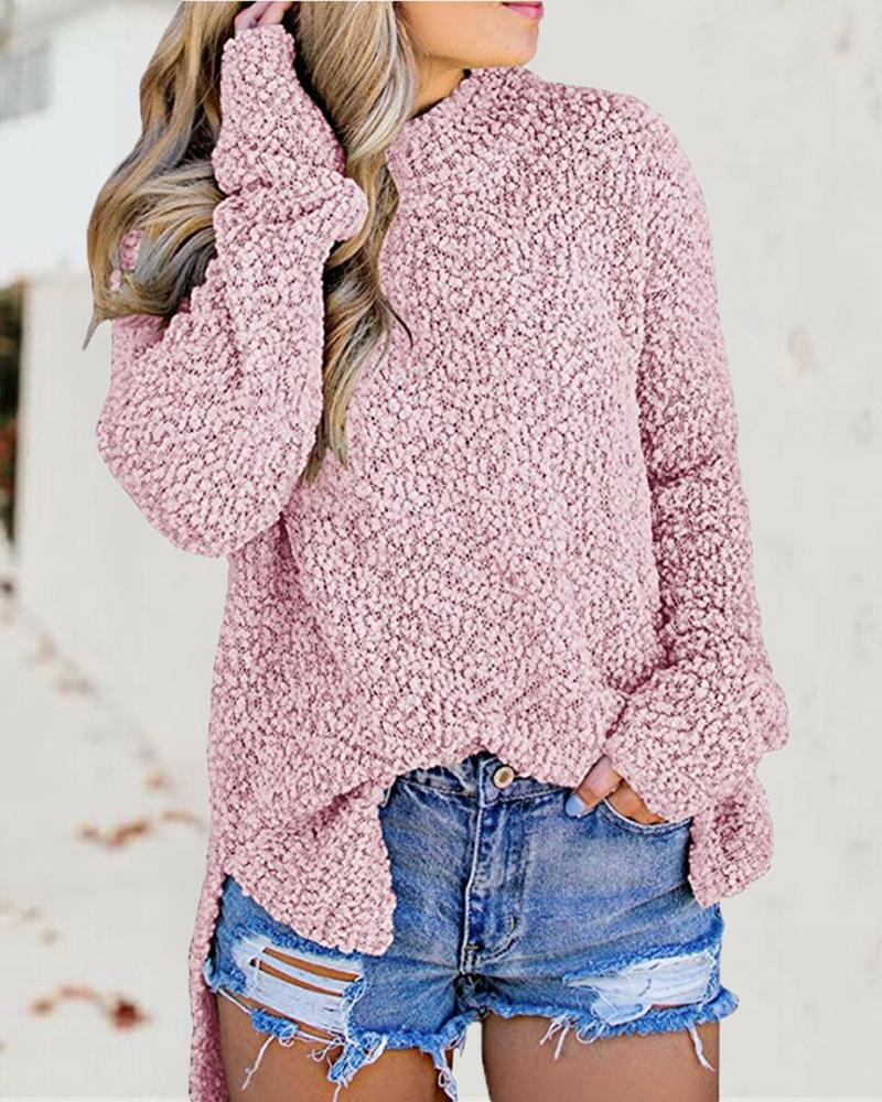 Mock Neck Long Sleeve Side Slit Sweater