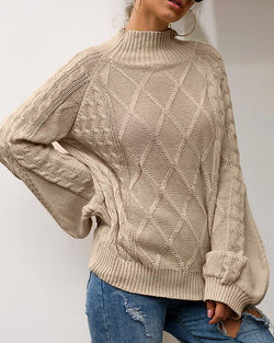 Solid High Neck Lantern Sleeve Sweater